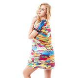 Women Sexy Satin Short Sleeve Nightdress Colorful Printing Lace Hem Nightgown