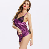 Women Sexy Deep V Satin Nightwear Bowknot Back Spaghetti Strap Short Pants Sleepwear