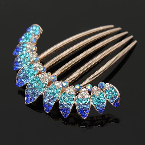 6 Colors Colorful Wedding Bride Shiny Rhinestone Leaf Crown Hair Combs