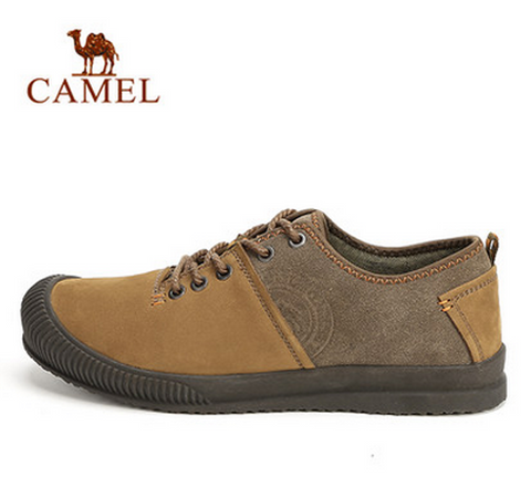 Camel Men Cow Leather Shock Absorption Toe Protecting Lace Up Walking Shoes