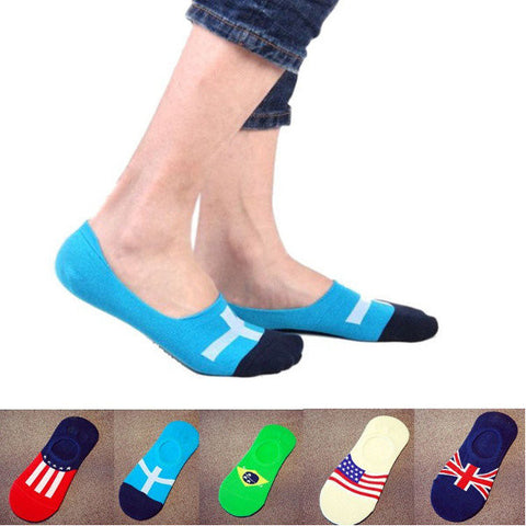 5 Pairs Mens Flag Printing Cotton Silicone Nonslip Invisible socks Sport Low Cut Socks - shechoic.com