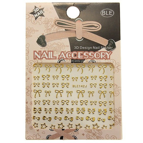 1 Sheet 3D Golden Bowknot Star Nail Art Stickers Decals