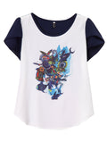 Women Short Sleeve Floal Printed Patchwork High Low Chiffon T-shirt