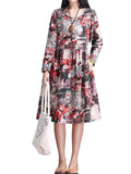 Vintage Women Long Sleeve O Neck Floral Printed Cotton Linen Dress