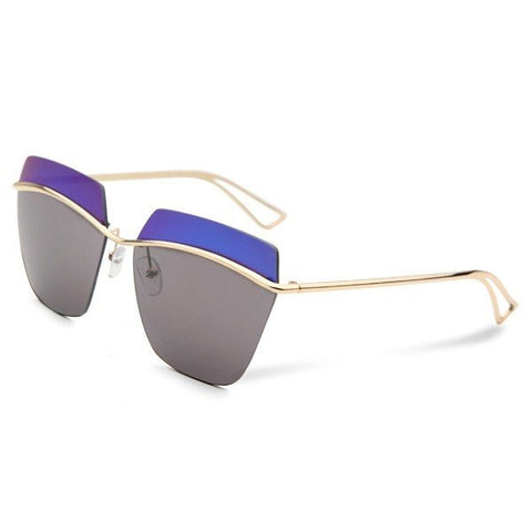Fashion Sunglasses Mercury Rimless Metal Frame Black Lense Sunglass