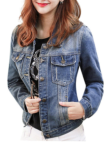 Casual Pocket Long Sleeve Denim Slim Jacket