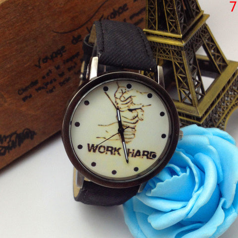 Work Hard Denim Strap Simple Watch