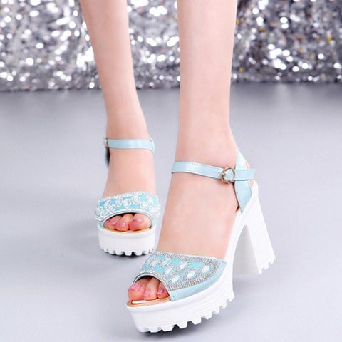 Bead Crystal Buckle Korean Style Peep Toe Chunky Heel Platform Sandals
