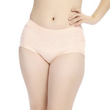 Women Elastic Seamless Modal Lace Briefs Breathable Mid Waist Panties XL-3XL