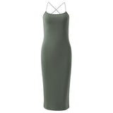 Women Sexy Cross Strap Sleeveless Backless Package hip O-neck Mid-long Dress