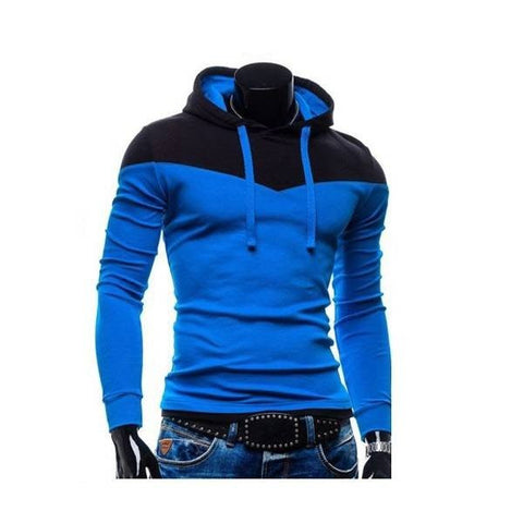 Men's Casual Stitching Color Hooded Sweatshirt Hoodies Long Sleeve Sportswear