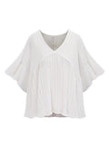 Ruffles Short Sleeve Pleated Stitching Loose T-Shirt For Women