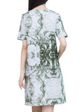 Vintage Printed O-Neck Short Sleeve Pocket Dress For Women