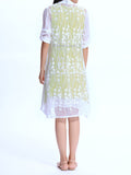 Vintage Solid Sleeveless Linen Dress And 3/4 Sleeves Lace Cardigan Suit For Women