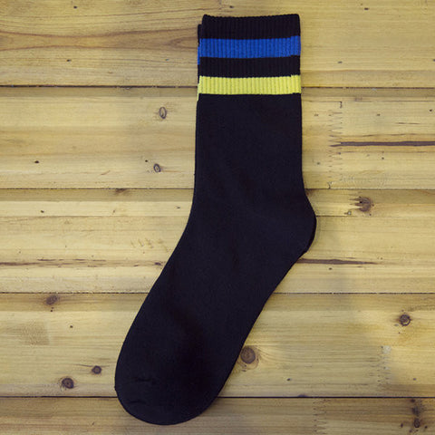 Cotton Breathable Deodorant Colour Stripe Middle Tube Socks For Men