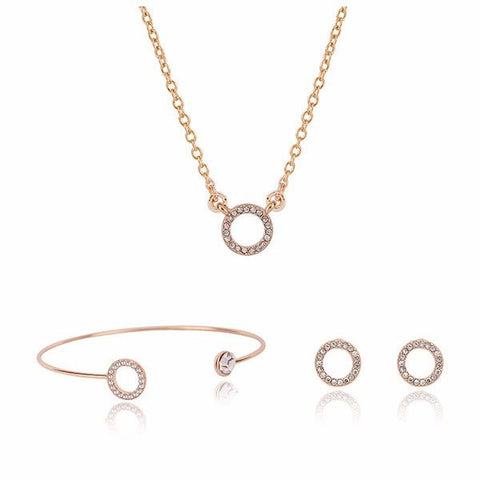Alloy Crystal Circle Bridal Necklace Earrings Jewelry Set