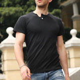 Mens Base Tshirts Single Button Decoration Solid Color Short Sleeved T Shirts