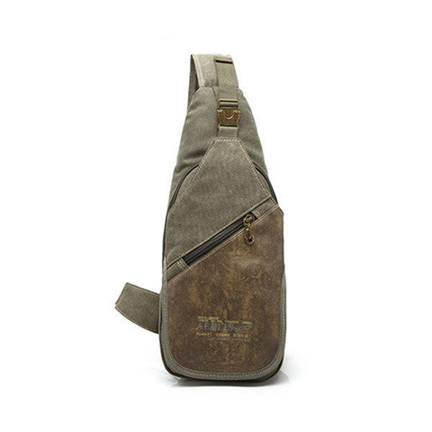 AERLIS Men Canvas Retro Multifunctional Sport Casual Chest Crossbody Bag - shechoic.com