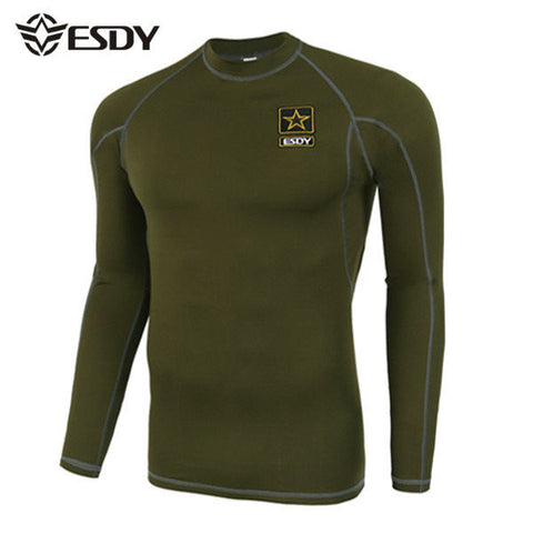 ESDY Mens Outdoor Tactical Sports Elastic Fitness Long Sleeved T-shirts