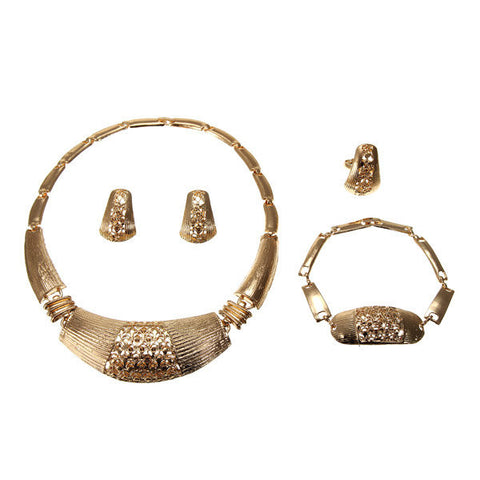 Alloy Gold Plated Wedding Jewelry Set