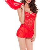 Sexy V Neck Lace Hollow Temptation Babydoll Cover Up Nightdress Sets For Women