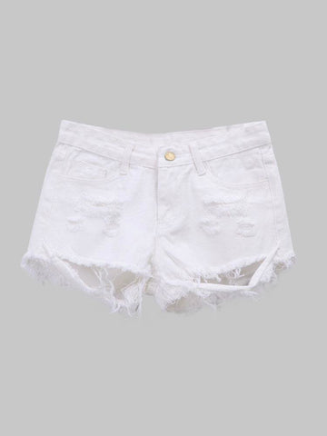 Women Broken Hole Pockets Irregular Hem White Denim Shorts