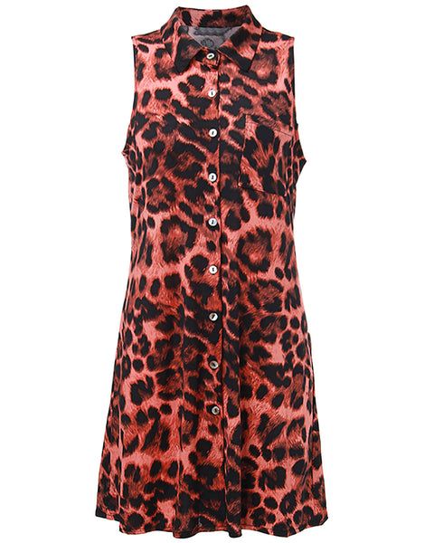 Casual Women Leopard Printed Lapels Pocket Button Dress