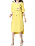 Women Ethnic Vintage Embroidery Short-Sleeve Loose Casual Dress