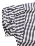 Women V-Neck Stripe Button Pocket High Low Blouse