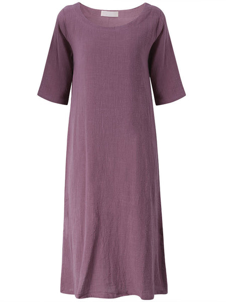 Women Vintage Pure Color Loose 3/4 Sleeve O-Neck Casual Dress