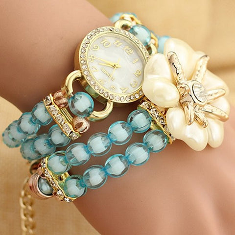 Simple Acrylic Flowers Rhinestone Watch