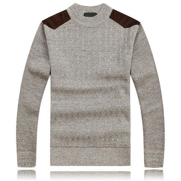Men's Fall Winter Thick Sweaters Knitting Splicing Shoulder Casual Pullover