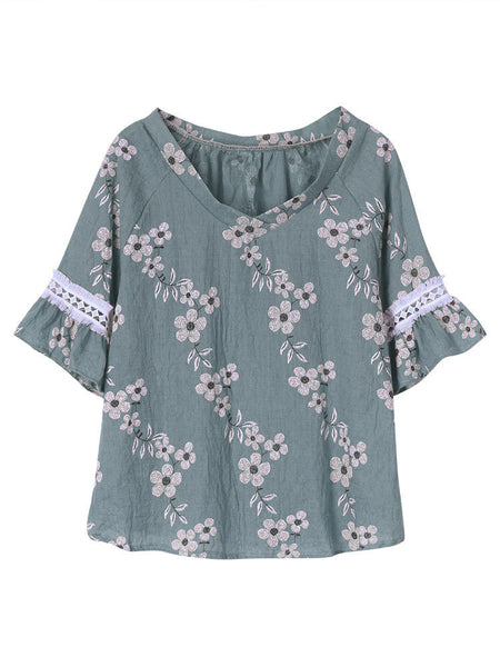 Women Short Sleeve Lace Hollow Out Floral Printed T-shirt