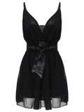 Slim Belt Backless Sleeveless Strap Black Deep V Neck Chiffon Mini Dress