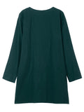 Pocket Vintage Loose Solid Long Sleeve Cotton O Neck Midi Dress