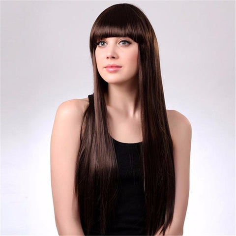 LS002-6 Capless Long Synthetic Dark Brown Neat Bang Straight Hair Wig