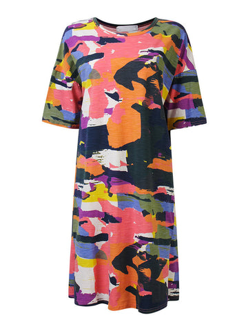 Casual Camouflage Side Split Loose Shirt Dress For Women
