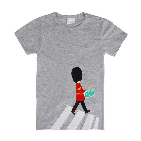 Lovely Drum Boy Baby Children Boy Pure Cotton Short Sleeve T-shirt Top