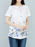 Women Short Sleeve Button Floral Embroidery Ethnic T-shirt