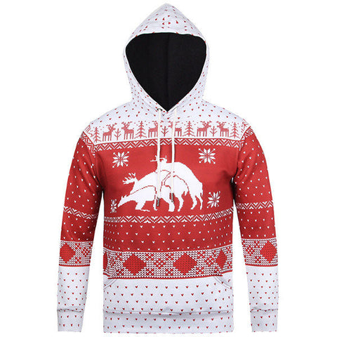 Christmas Theme Deer Snow Flakes Printing Front Pocket Casual Sport Hoodies