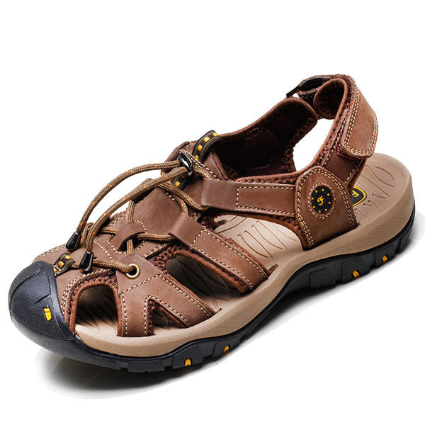 423a0521de369 Men Leather Hollow Out Toe Protecting Elastic Outdoor Beach Sandals –  shechoic.com