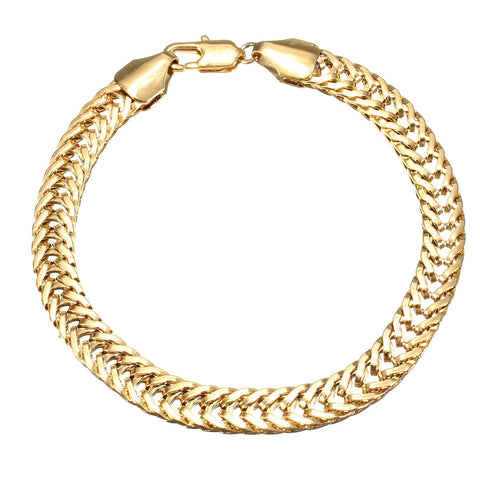 18K Gold Plated Yellow Solid Chain Bracelet