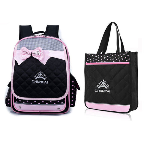 Kids Waterproof Schoolbag Girls Backpack Primary Students Tutorial Bag Bowknot Handbag