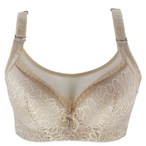 Plus Size Women Elegant Embroidery Lace Bras Push Up Adjustable Bras