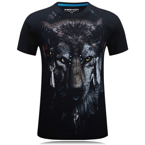 3D Printed T-shirt Men's Summer Casual Wolf Pattern Printed Round Neck Cotton T-shirt Tees - shechoic.com