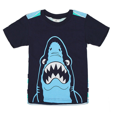 Maven Lovely Shark Baby Children Boy Cotton Short Sleeve T-shirt Top