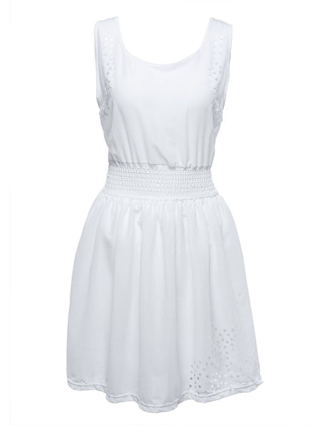 White Sleeveless Burn-out Tunic Elastic Waist Square Neck Mini A-Line Dress