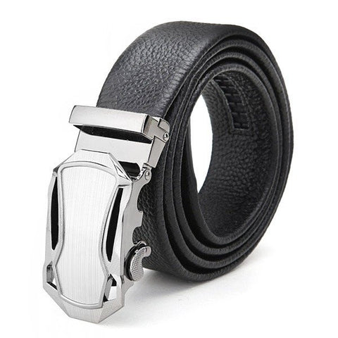 120cm First Layer Cowhide Men's Belt Alloy Automatic Business Buckle Agio Leather Strap - shechoic.com