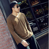 Men's Large Size V-Neck Loose Long Sleeve Plain Cotton T-Shirts