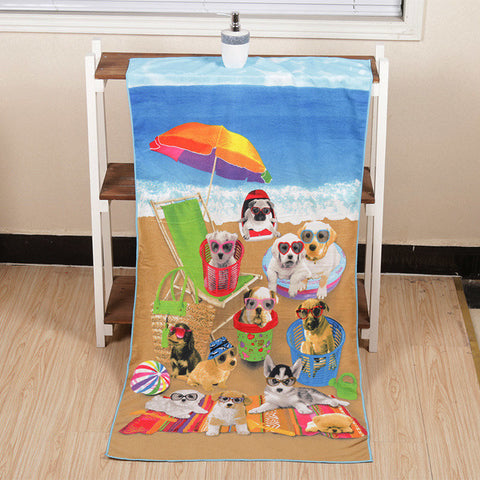 70x140cm Cool Dog Design Microfiber Soft Bath Beach Towels Absorbent Quick Dry Washcloth